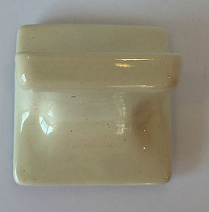 (BA-450) Vintage Cream Yellow Speckle Ceramic Wall Mount Soap Dish 5 x 5""