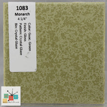 "Load image into Gallery viewer, MMT-1083C Vintage 4 1/4"" Ceramic 1pc Tile Monarch Green Crystal Glaze Gloss Cap"