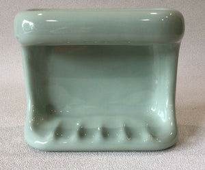 BA-1346 Vintage Ceramic Bathroom Sage Green Soap Dish w/Grab Handle