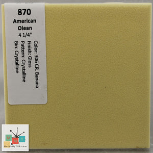 "MMT-870ST Vintage 4 1/4"" Ceramic 1pc Tile AO 36 CR. Banana Crystal Glossy Score 3"