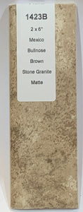 "MMT-1423B Vintage 2x6"" Ceramic Tile Brown Stone Textures Stone Matte Bullnose"