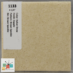 "MMT-1133 Vintage 4 1/4"" Ceramic 1 pc Tile Italian Straw Brown Speckled Dapple"