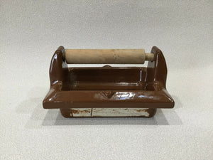 BA-1050 NOS Vintage Ceramic Bathroom Brown Toilet Paper Roll Holder 6.5 x 5""