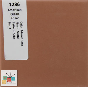 "MMT-1286 Vintage 4 1/4"" Ceramic 1 pc Wall Tile AO Mauve Rose Brown Matte"
