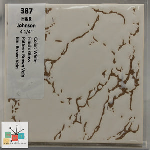 "MMT-387 Vintage 4 1/4"" Ceramic 1 pc Wall Tile H&R White Brown Vein Glossy"