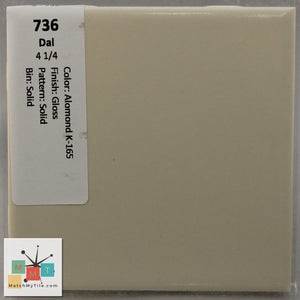 "MMT-736 Vintage 4 1/4"" Ceramic 1 pc Wall Tile Daltile Almond K-165 Tan Glossy"