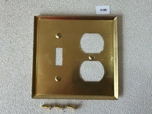 H-69 MCM Vintage Original Solid Brass Outlet & Light Switch Cover Plate in Box