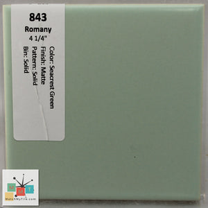"MMT-843 Vintage 4 1/4"" Ceramic 1 pc Wall Tile Romany Seacrest Green Matte"