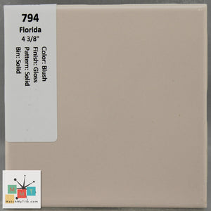 "MMT-794 Vintage 4 3/8"" Ceramic 1 pc Wall Tile FT Blush Pink Glossy"