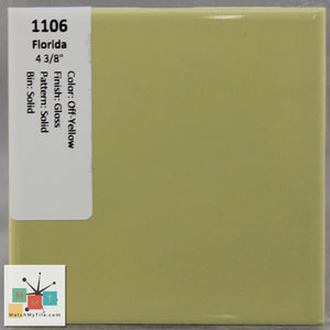 "MMT-1106 Vintage 4 3/8"" Ceramic 1 pc Wall Tile FT Off-Yellow Yellow Glossy"