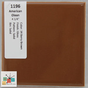 "MMT-1196 Vintage 4 1/4"" Ceramic 1 pc Wall Tile AO 34 Berry Brown Glossy"