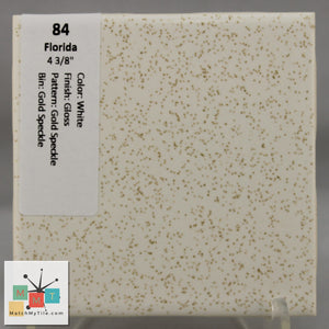 "MMT-84 Vintage 4 3/8"" Ceramic 1 pc Wall Tile FT White Gold Speckled Glossy"