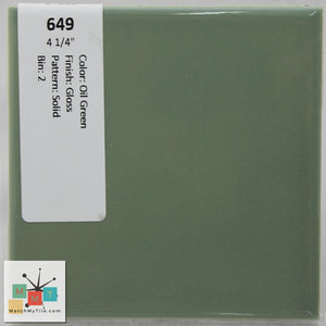"MMT-649 Vintage 4 1/4"" Ceramic 1 pc Wall Tile Oil Green Glossy"