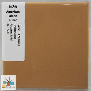 "MMT-676C Vintage 4 1/4"" Ceramic 1 pc Wall Tile AO 33 Tan Glossy Mudcap"