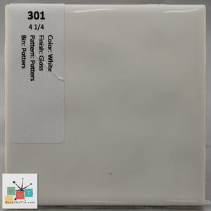"MMT-301 Vintage 4 1/4"" Ceramic 1 pc Wall Tile White Potters Glossy"