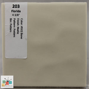 "MMT-203 Vintage 4 3/8"" Ceramic 1 pc Wall Tile FT #53 Bone Potters Matte"