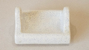 BA-1058 Vintage Ceramic Bathroom White w Blue Specs Speckles Toilet Paper Holder