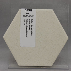"MMT-539H Vintage 4 3/8"" Ceramic 1 pc Wall Tile MCT White Crystal Glaze Hexagon"