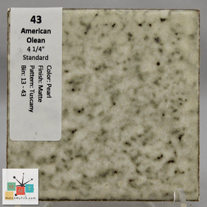 "MMT-43B Vintage 4 1/4"" Ceramic 1 pc Wall Tile AO Pearl Tuscany Matte Bullnose"