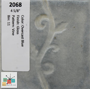 "MMT-2068 Vintage 4 5/8"" Ceramic 1 pc Wall Tile Overcast Blue Vine Glossy"