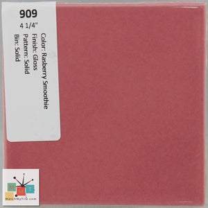 "MMT-909 Vintage 4 1/4"" Ceramic 1 pc Wall Tile Raspberry Pink Glossy"
