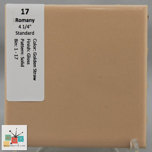 "MMT-17 Vintage 4 1/4"" Ceramic 1 pc Wall Tile Romany Golden Yellow Glossy"