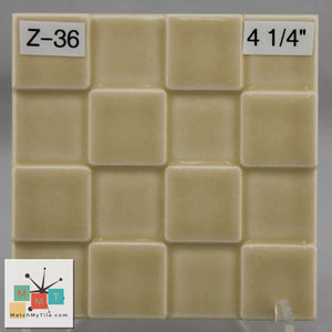 "MMT-36 Vintage 4 1/4"" Ceramic 1 pc Wall Tile Yellow Fade Tone Glossy Checker"