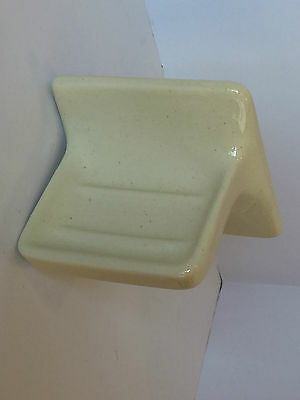 (BA-450) Vintage Cream Yellow Speckle Ceramic Wall Mount Soap Dish 5 x 5