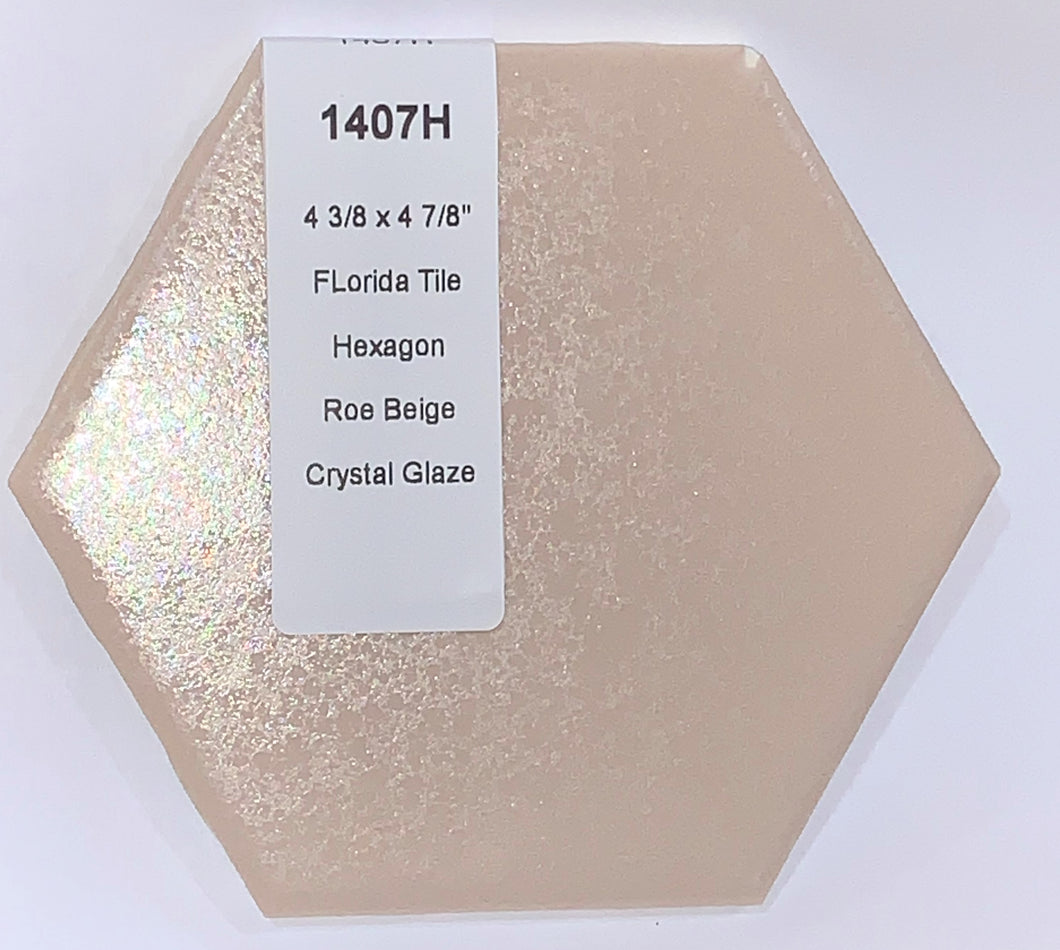 MMT-1407H Vintage 4 3/8x5 Ceramic 1 pc Wall Tile Tan Peach Crystal Glaze Hexagon