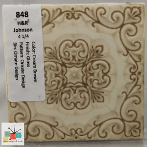 "MMT-848 Vintage 4 1/4"" Ceramic 1 pc Wall Tile H&R Cream Brown Pattern Glossy"
