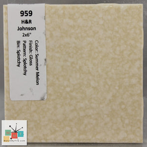 "MMT-959 Vintage 2x6"" Ceramic 1 pc Wall Tile H&R White Yellow Pattern Glossy"