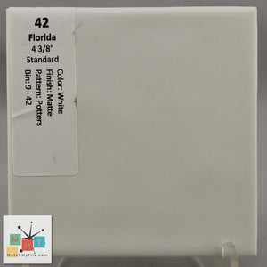 "MMT-42 Vintage 4 3/8"" Ceramic 1 pc Wall Tile FT White Potters Matte"