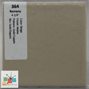 "MMT-364 Vintage 4 1/4"" Ceramic 1pc Tile Romany Beige Dapple Gold Speckled Matte"