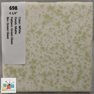 "MMT-698 Vintage 4 1/4"" Ceramic 1 pc Wall Tile White Green Pattern Matte"