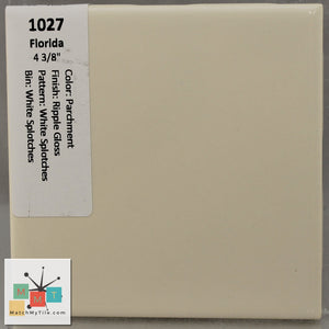 "MMT-127V Vintage 4x6"" Ceramic 1 pc Wall Tile FT Parchment Dapple Glossy Cove"