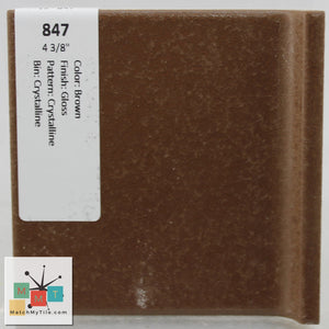"MMT-847V Vintage 4 3/8"" Ceramic 1 pc Wall Tile Brown Crystalline Glossy Cove"