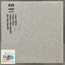 "Load image into Gallery viewer, MMT-910B Vintage 4 1/4"" Ceramic 1pc Tile Japan White Blue Speckle Gloss Bullnose"