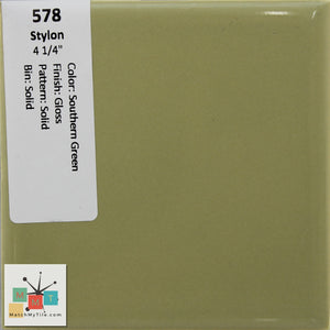 "MMT-578 Vintage 4 1/4"" Ceramic 1 pc Wall Tile Stylon Southern Green Glossy"