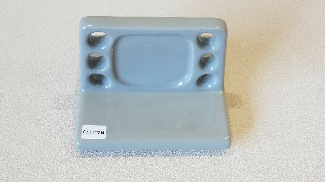 BA-1173 NOS Vintage Ceramic Gray Bathroom Toothbrush & Cup Holder 5