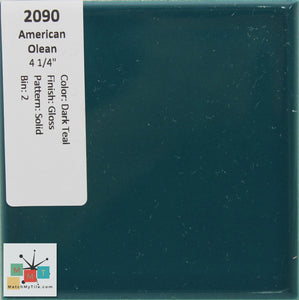 "MMT-2090 Vintage 4 1/4"" Ceramic 1 pc Wall Tile AO Dark Teal Green Glossy"