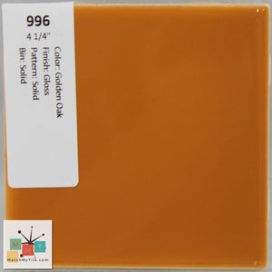 "MMT-996 Vintage 4 1/4"" Ceramic 1 pc Wall Tile Golden Brown Glossy"