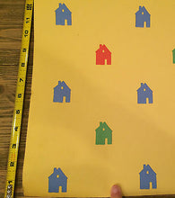 Load image into Gallery viewer, I-841) 1 Dr Motif Designs Yellow Background Colored Houses Folk Cute 20.5 X 30'