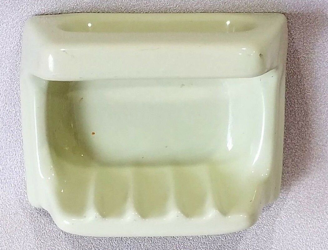 BA-1082 NOS Vintage Ceramic Bathroom Bathtub Soap Dish Grab Handle Yellow Green