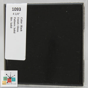 "MMT-1093 Vintage 4 1/4"" Ceramic 1 pc Wall Tile Black Glossy"