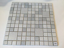 "Load image into Gallery viewer, TB-3 Vintage 12 1/2"" Sq Section White Gray Grey Textured Ceramic Wall Tile"