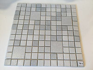 "TB-3 Vintage 12 1/2"" Sq Section White Gray Grey Textured Ceramic Wall Tile"