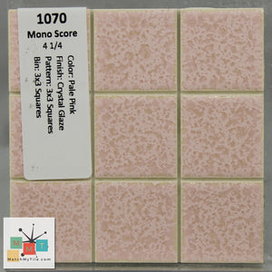 "MMT-1070S Vintage 4 1/4"" Ceramic 1pc Tile Mono Pale Pink Crystal Matte Hex"