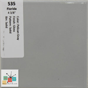 "MMT-535 Vintage 4 3/8"" Ceramic 1 pc Wall Tile FT Pelican Gray Glossy"