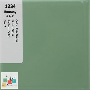 "MMT-1234 Vintage 4 1/4"" Ceramic 1 pc Wall Tile Romany Fair Green Glossy"