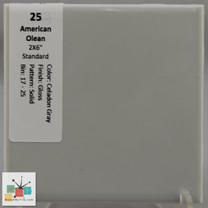 "MMT-25 Vintage 4 1/4"" Ceramic 1 pc Wall Tile AO Celadon Gray Glossy"